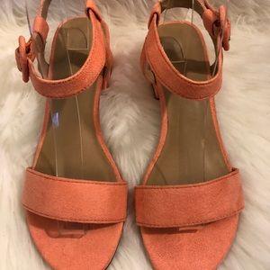 Suede Low Block Heel Sandals